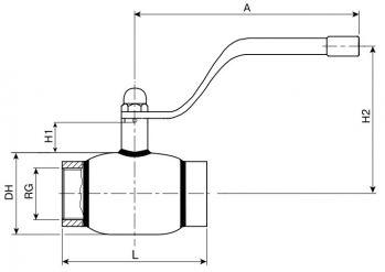 Кран шаровый Ballomax серии КШГ 70.100. Размеры