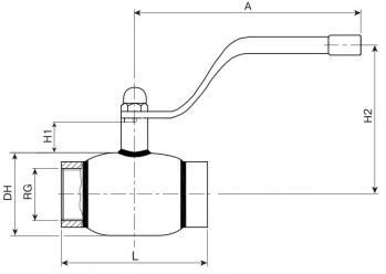 Кран шаровый Ballomax серии КШН 20.100. Размеры