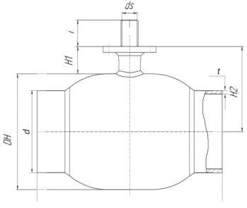Кран шаровый Ballomax серии КШТ 61.112. Размеры