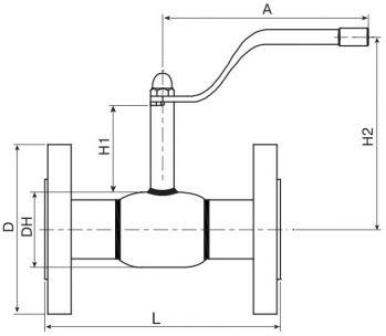 Кран шаровый Ballomax серии КШН 20.103, DN 15-50 РN 40. Размеры
