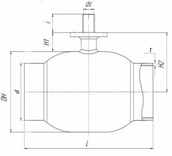 Кран шаровый Ballomax серии КШН 21.102, DN 125-500 PN 25. Размеры