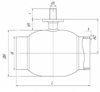 Кран шаровый Ballomax серии КШН 21.112, DN 100-200. Размеры