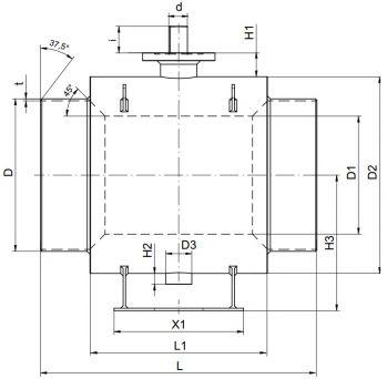 Кран шаровый Ballomax серии КШН 21.102, DN 600-800 РN 16. Размеры
