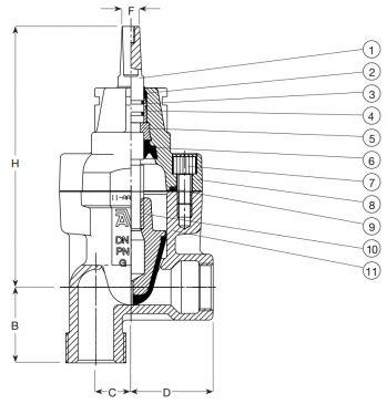 Задвижка чугунная ответвительная угловая (90°) AVK 11/00. Компоненты