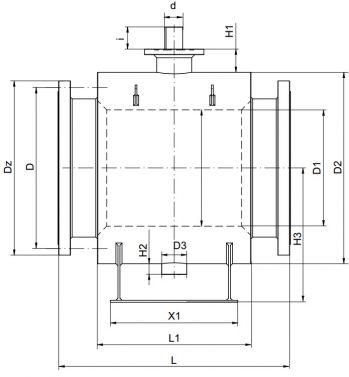 Кран шаровый Ballomax серии КШГ 71.103 DN 600-1400. Размеры