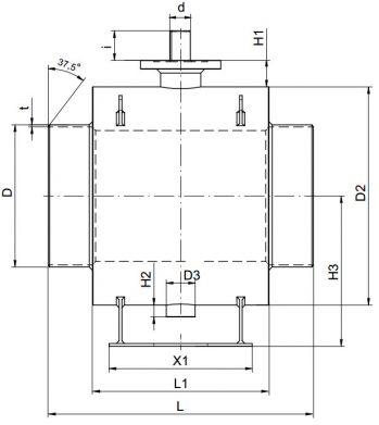 Кран шаровый Ballomax серии КШГ 71.112 DN 250-1400. Размеры