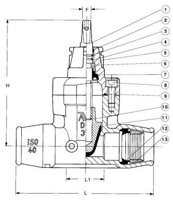 Задвижка чугунная ответвительная AVK 03/30. Компоненты