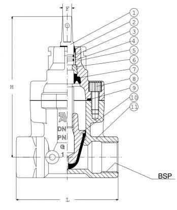 Задвижка чугунная ответвительная AVK 03/x0. Компоненты