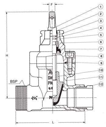 Задвижка чугунная ответвительная AVK 03/95. Компоненты