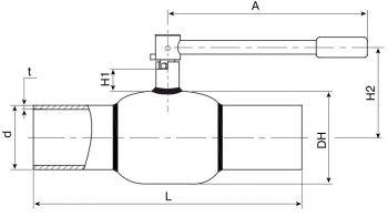 Кран шаровый Ballomax серии КШГ 70.112 DN 50-80. Размеры
