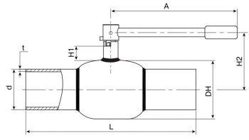 Кран шаровый Ballomax серии КШГ 70.102 DN 65-100. Размеры