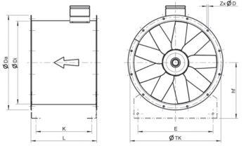 Вентилятор осевой среднего давления Systemair серии AXC. Размеры