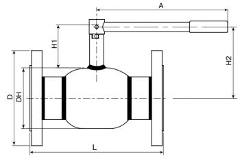 Кран шаровый Ballomax серии КШГ 70.103 DN 65-100. Размеры