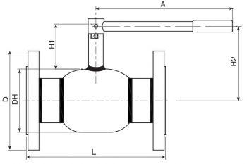 Кран шаровый Ballomax серии КШН 20.113, DN 50-80. Размеры