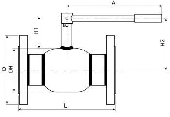 Кран шаровый Ballomax серии КШГ 70.113 DN 50-80. Размеры