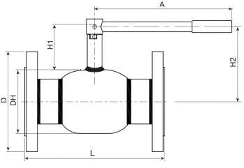 Кран шаровый Ballomax серии КШТ 60.113 DN 50-80. Размеры