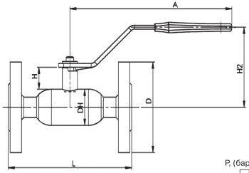 Кран шаровый Ballomax серии КШТ 60.003. Размеры