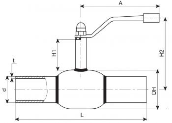 Кран шаровый Ballomax серии КШТ 60.102. Размеры