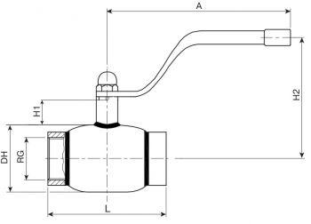 Кран шаровый Ballomax серии КШТ 60.100. Размеры