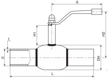 Кран шаровый Ballomax серии КШН 20.112, DN 15-40. Размеры