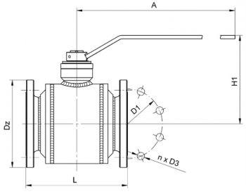 Кран шаровый Ballomax серии КШГ 70.113 короткий DN 100-200. Размеры