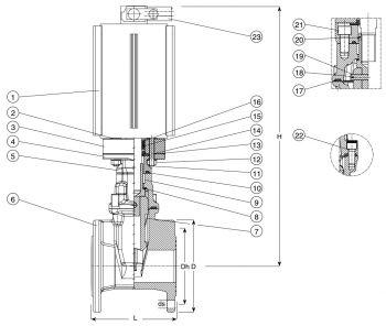 Задвижка чугунная с пневмоприводом клиновая фланцевая AVK 715/30. Компоненты