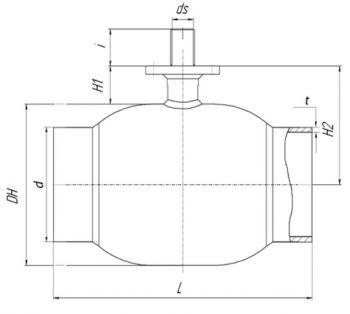 Кран шаровый Ballomax серии КШГ 71.112 DN 100-200. Размеры
