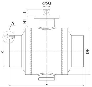 Кран шаровый Ballomax серии КШТ 61.112. DN 200-350 РN40. Размеры