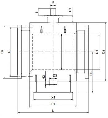 Кран шаровый Ballomax серии КШН 21.103, DN 600-800. Размеры