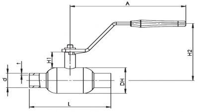 Кран шаровый Ballomax серии КШТ 60.002. Размеры