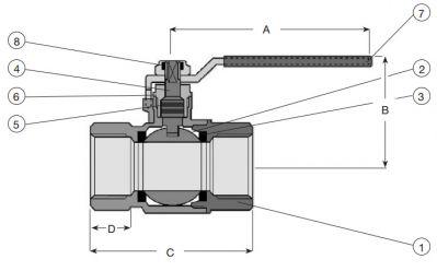 Кран шаровый AVK латунный для задвижек Combi-Cross 18/93. Компоненты