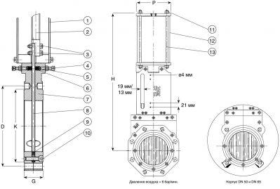 Задвижка чугунная ножевая шиберная с пневмоприводом AVK 702/40. Компоненты