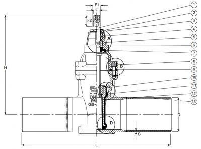 Задвижка стальная клиновая сварная AVK 46/70. Компоненты