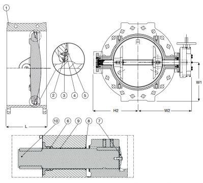 Затвор дисковый поворотный с двойным эксцентриком с электроприводом AVK 756/02. Компоненты и размеры