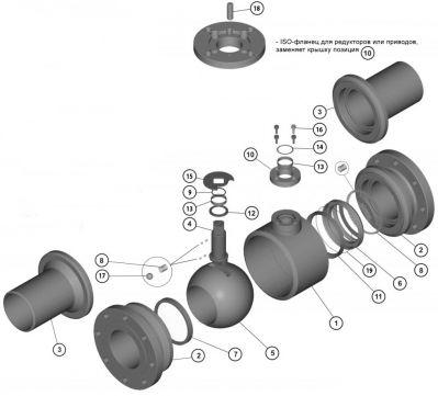 Кран шаровой БРОЕН БАЛЛОМАКС DN 15-300, РN 16, полный проход, серии КШН 20.112, КШН 20.113. Детали