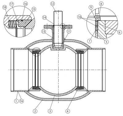 Серия КШН 21.102, КШН 21.103 DN 300-500, PN 25, стандартный проход. Детали