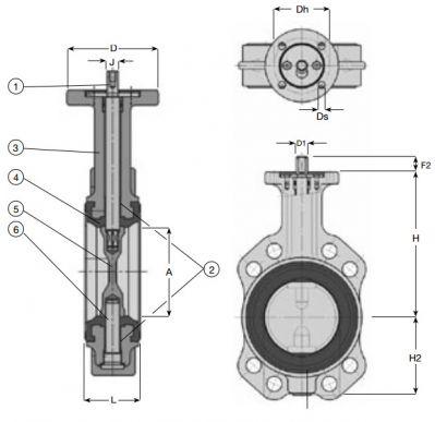 Затвор дисковый поворотный бесфланцевый AVK 76/70. Компоненты и размеры