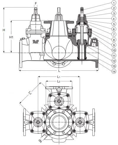 Задвижка чугунная гнездовая фланцевая AVK Combi-Cross-3 18/80. Компоненты