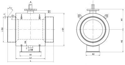 Кран шаровый Ballomax серии КШТ 61.102 DN 600 - 1400. Размеры