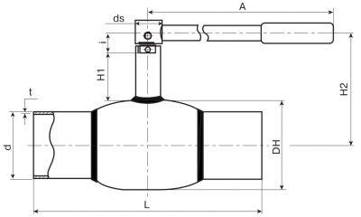 Кран шаровый Ballomax серии КШТ 60.102. Размеры (DN 65-100)