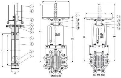 Задвижка чугунная ножевая шиберная AVK 702/20. Компоненты