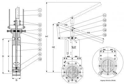 Задвижка чугунная ножевая шиберная AVK 702/30. Компоненты
