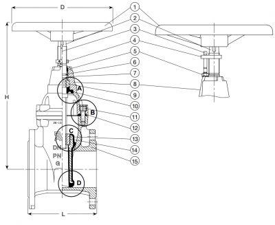 Задвижка чугунная клиновая фланцевая AVK 06/35. Компоненты