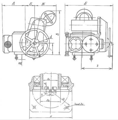 Электропривод для запорной арматуры типа НВ. Размеры
