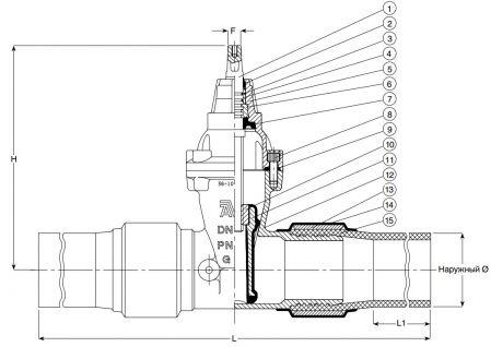 Задвижка чугунная клиновая с ПЭ патрубками AVK 36/80. Компоненты