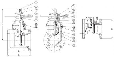 Задвижка чугунная клиновая фланцевая под колонный индикатор AVK 25/401. Компоненты