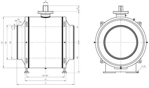 Кран шаровый Ballomax серии КШТ 61.112. DN 1000-1400 РN40. Размеры